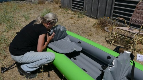 Inflating the seat base.