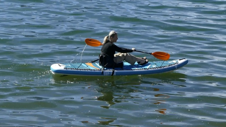 PAddling the Tahe SUP-YAK as a sit-on-top kayaks