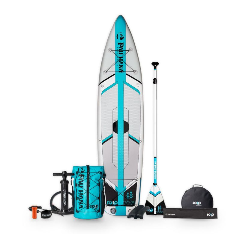 """The 10'10"""" SOLO Backcountry complete Air SUP package."""