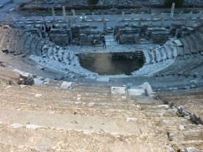 Bobbi performs a jig onstage at the Odeon Theater, Ephesus