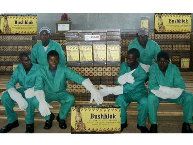 Employees at Bush Blok's factory