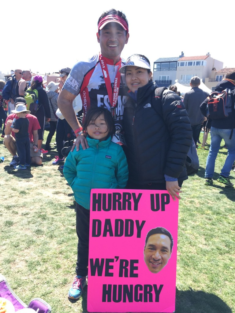 Michael Masangkay with Family Supporting Him at 2015 Escape From Alcatraz Triathlon