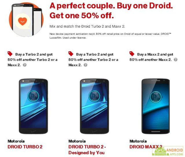 Buy a Motorola Droid Turbo 2 or Maxx 2 and get 50% off a second device