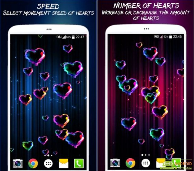 Magic Hearts Live Wallpaper App
