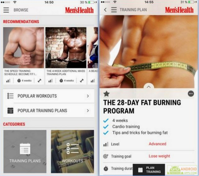 Mens Health Fitness Trainer App