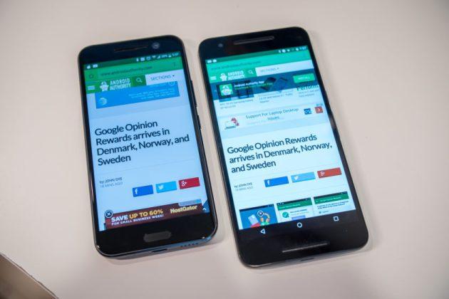 HTC 10 vs Nexus 6P Display