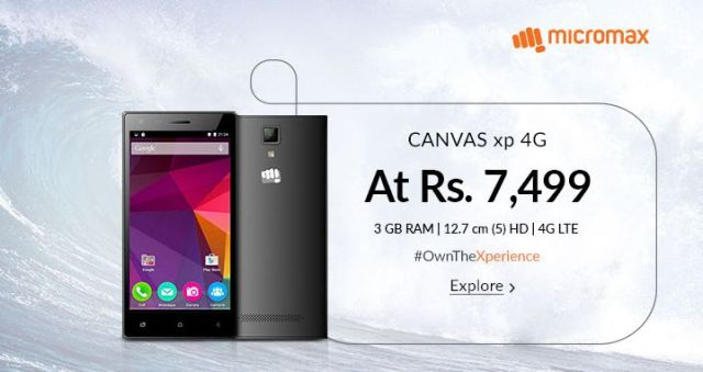 Micromax Canvas XP 4G with 5.00-inch display launched in India