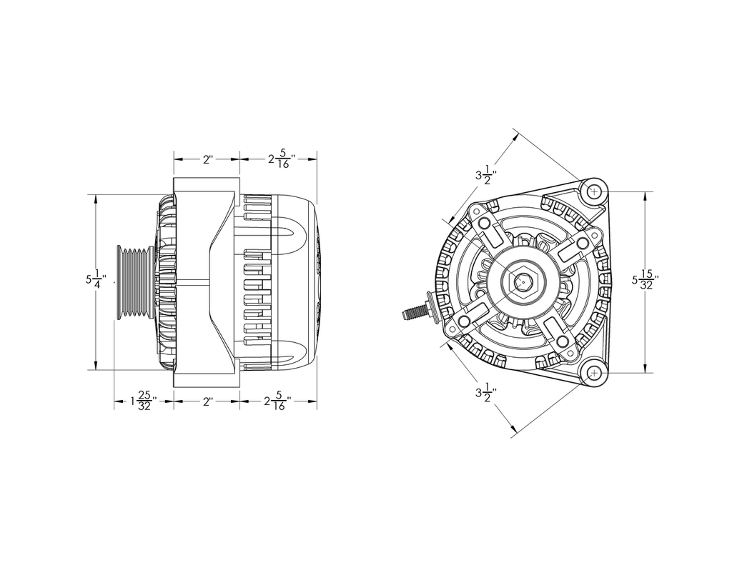 170 Amp High Output Racing One-Wire Alternator For GM