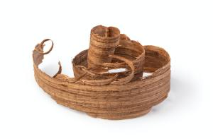 Curled wooden shavings