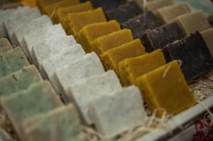 Natural soaps on the table . Sale