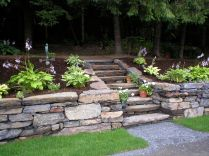 Stone steps to the woods and more garden