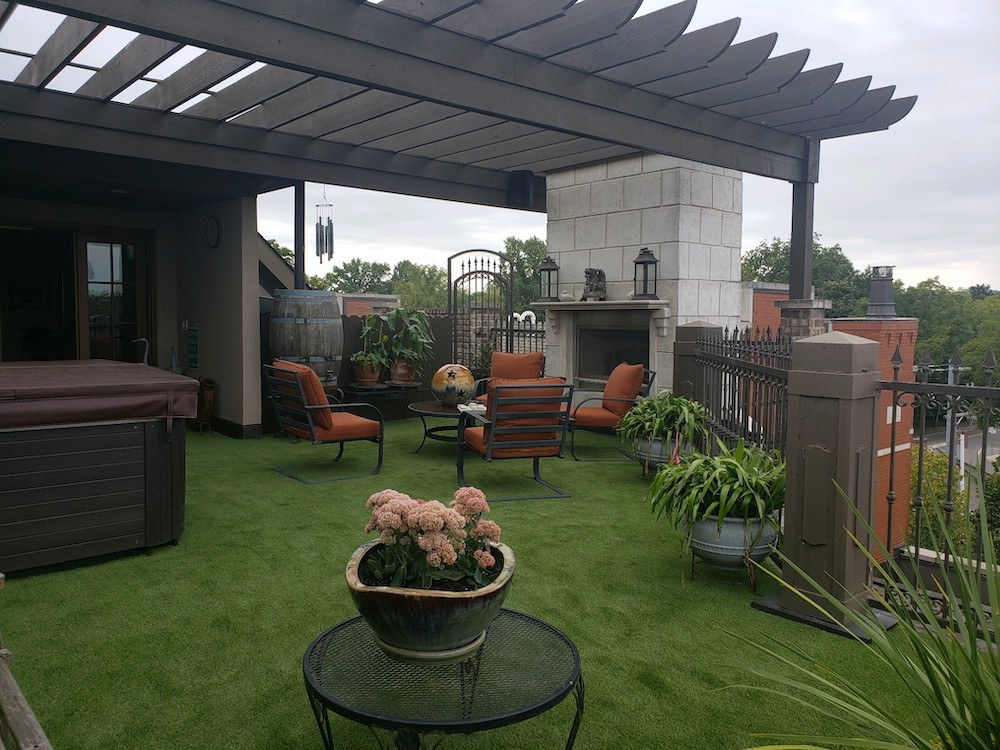 Beautiful rooftop space with artificial grass