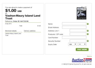 Vashon Land Trust Payment Page
