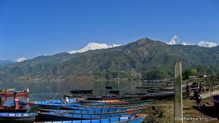 View of the Himalaya from Pokhara, Nepal