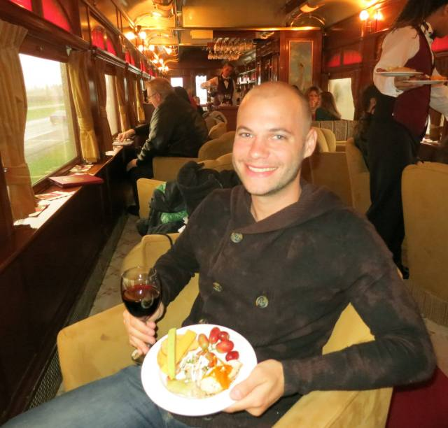 The author on the Napa Valley Wine Train