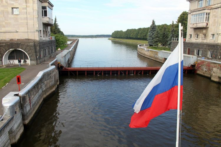 Lock on Volga River in Russia
