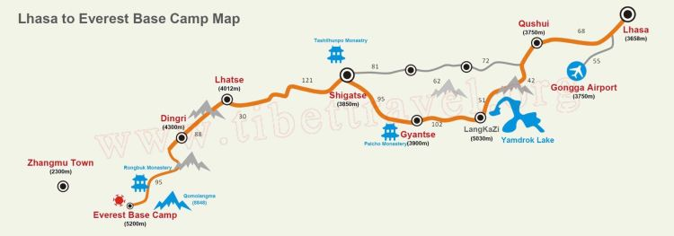 Classic Travel Route from Lhasa to Everest Base Camp