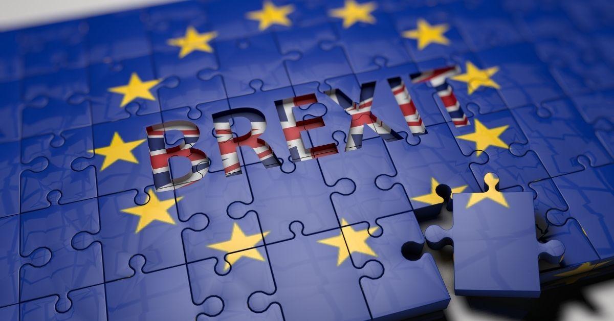 Brexit. European flag, UK flag. Job opportunity