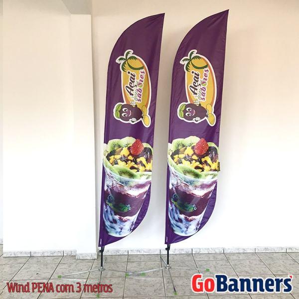 Wind Banner PENA com 3 metros Personalizado para Acai Doces Sabores