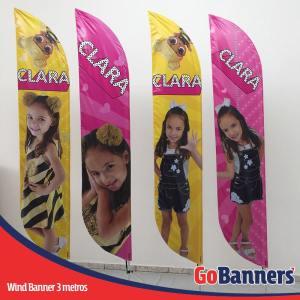 wind flag banner com 3 metros festa infantil clara