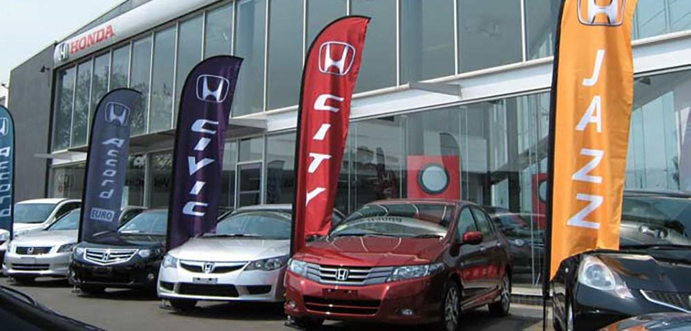 Wind Flag Banner no PDV - Wind Banner da Honda no Ponto de Venda