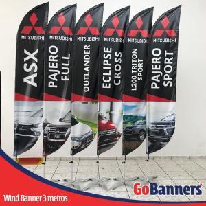 wind banner 3 metros mitsubishi motors