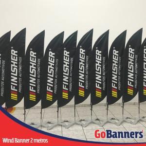 Wind Banner com 2 metros personalizado para FINLSHER Produtos Automotivos