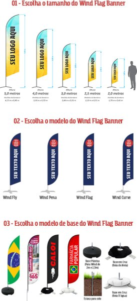 Tamanho, Medidas, Modelo e Bases dos Wind Banners - GoBanners