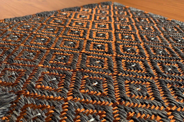 Gôbelins | Tapete Atlante | Gobelins Tapetes Artesanales Atlante Fique gris oscuro e hilos de cobre