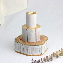 3 layered salvaged wood candlestick