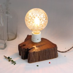Salvaged, dark wood table lamp with light butterfly joint - Osram Vint. Pinecone