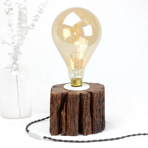 Desk lamp from salvaged, dark solid wood - Osram Vint. Big Grape