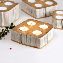 4 tealights candle holder from salvaged barn beam - small