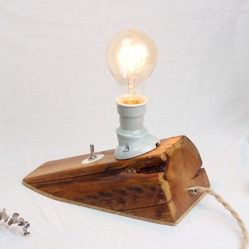 Sloped barn beam salvaged wood table lamp - Edison style A75