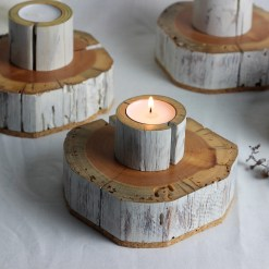 Salvaged wood tea light candle holder - set of 3