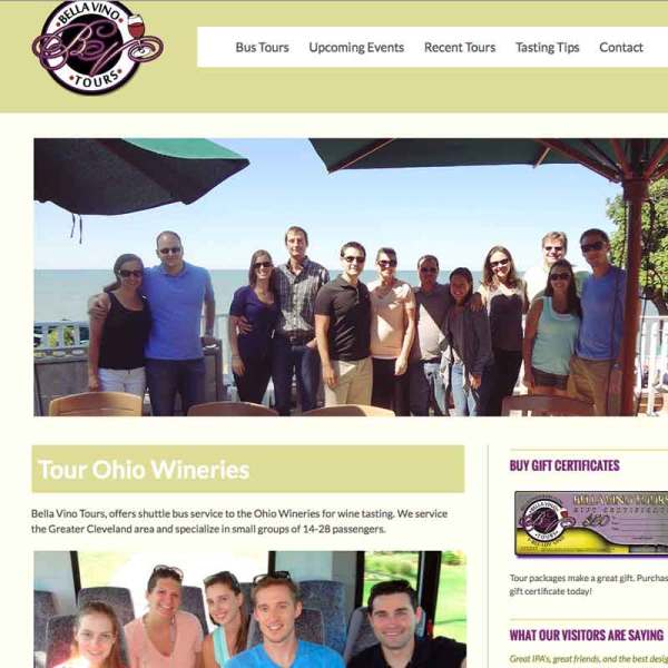 wine tours web site design
