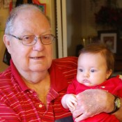 Great-PawPaw Harrison and Ellie on Christmas morning 2014