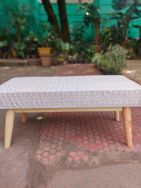 beige boho bench