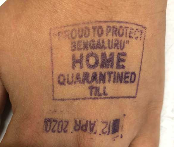 A quarantine stamp in India.