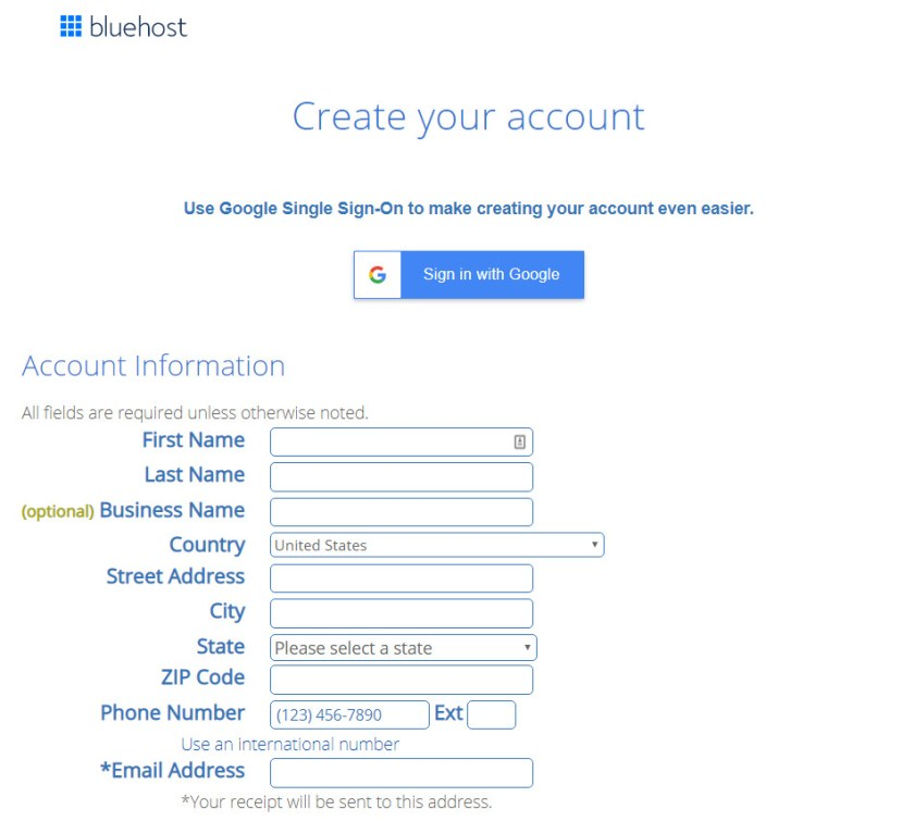 Screenshot of Bluehost's create your account screen