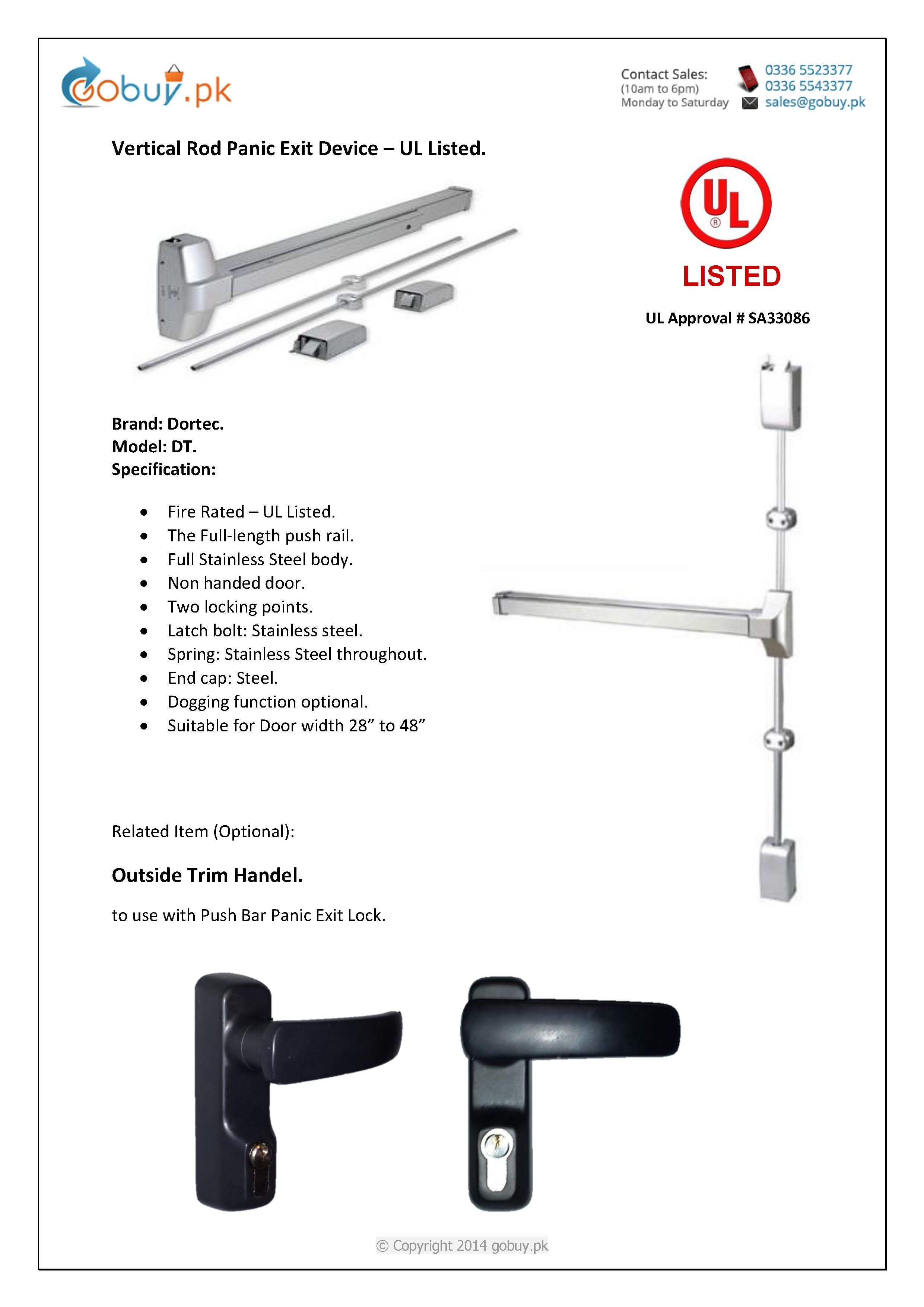 Vertical Rod Panic Exit Device Ul Listed Gobuy