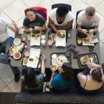Dinning with friends at the campus cafeteria