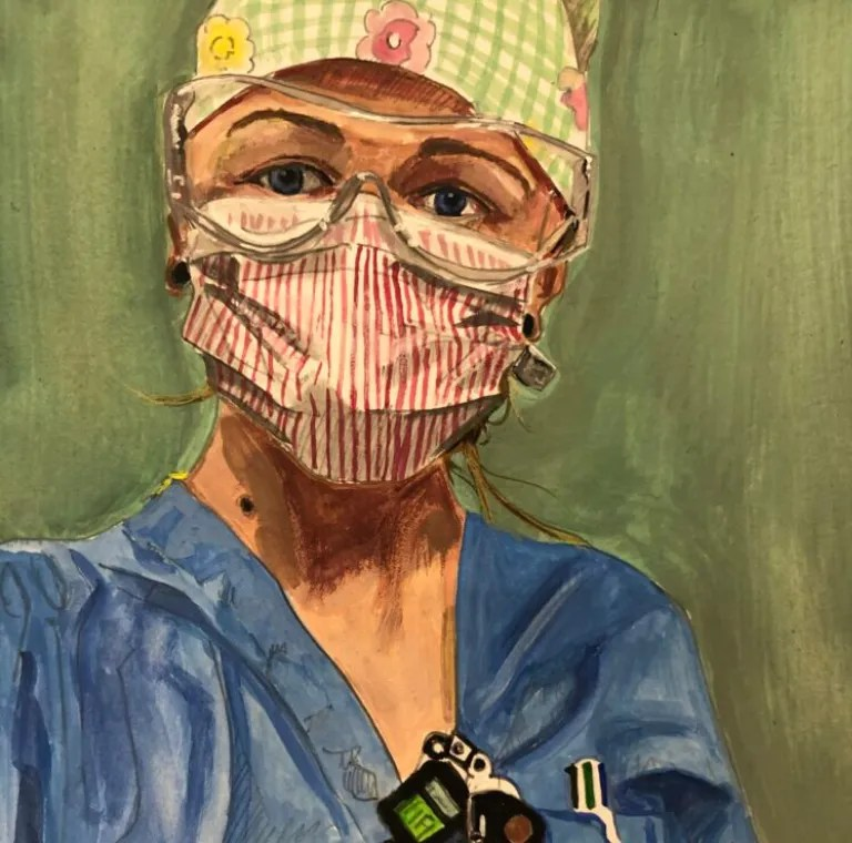 A photo of a painting by Steve Derrick that shows a healthcare worker wearing PPE as part of his series and a submission to our Creatives in Quarantine gallery.