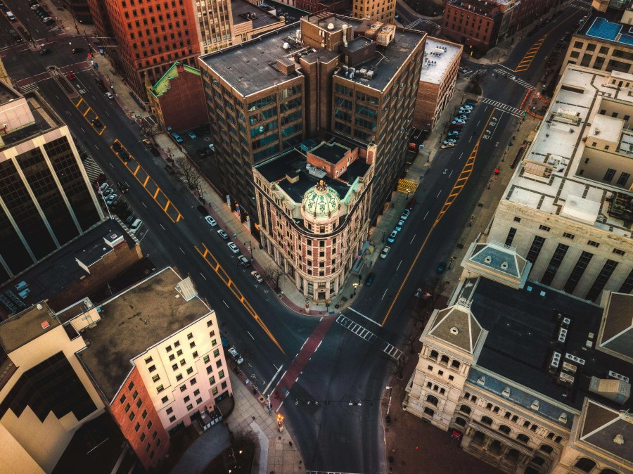 An aerial view of a downtown intersection
