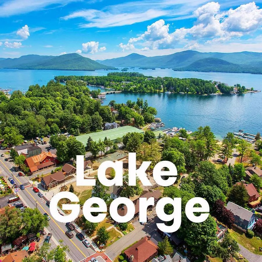 """An aerial photo of Lake George with a super across the photo that says """"Lake George"""""""