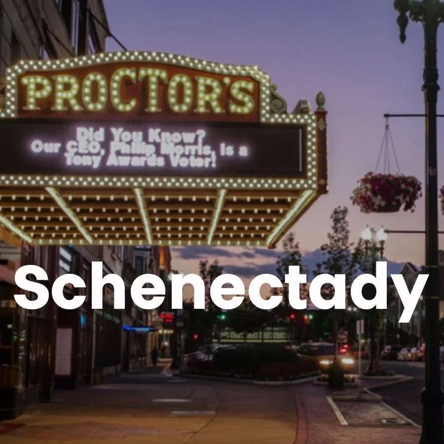 """Photo of the Proctor's marquee with a super across the photo that says """"Schenectady"""""""