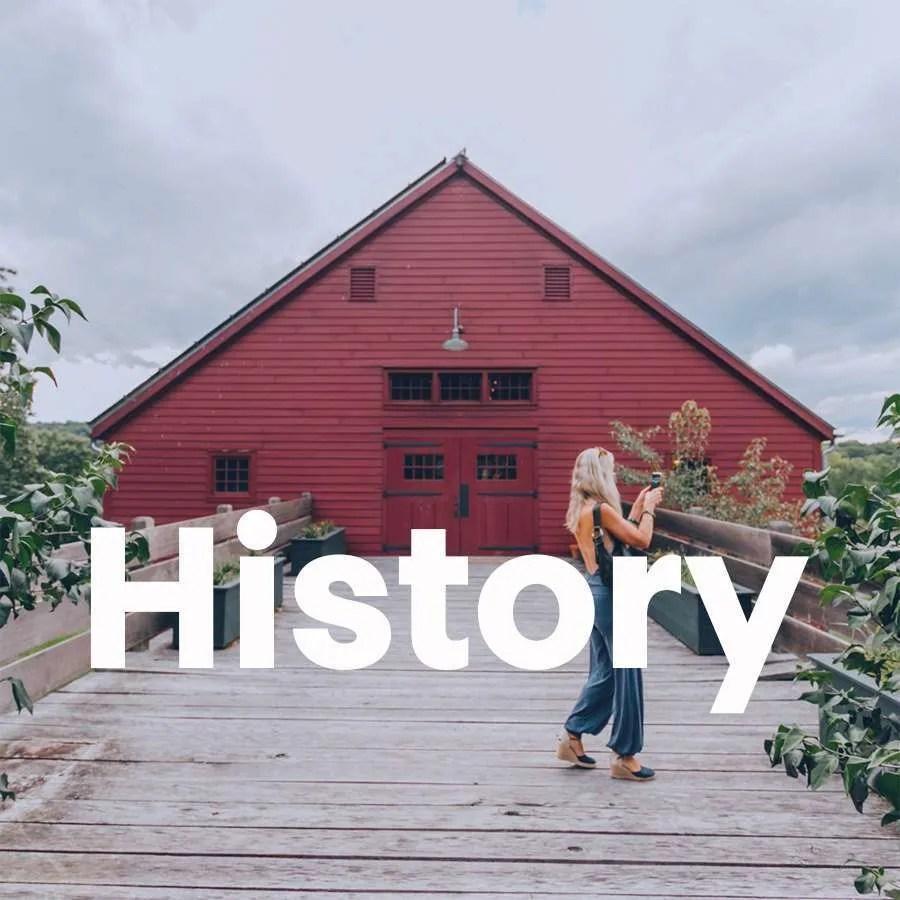 Photo of a woman outside a historic building which is a Link to the page for History