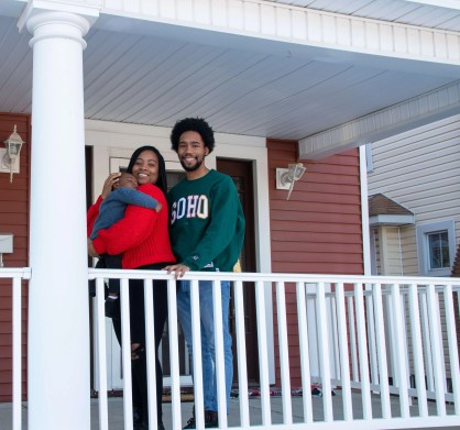 Family on front porch