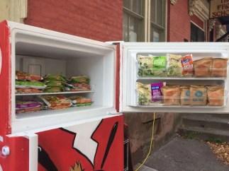 Free Food Fridge Albany -- open freezer