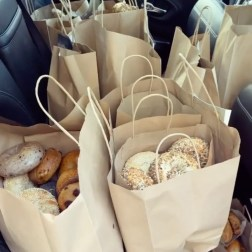 Bagels prepped for delivery